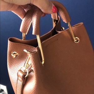 Bags - Faux Leather Bucket Bag & Crossbody